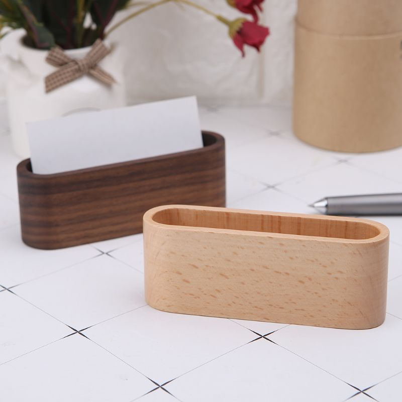 Wooden Table Business Card Display Stand Memo Holder Storage Box Organizer Walnut Beech Wood