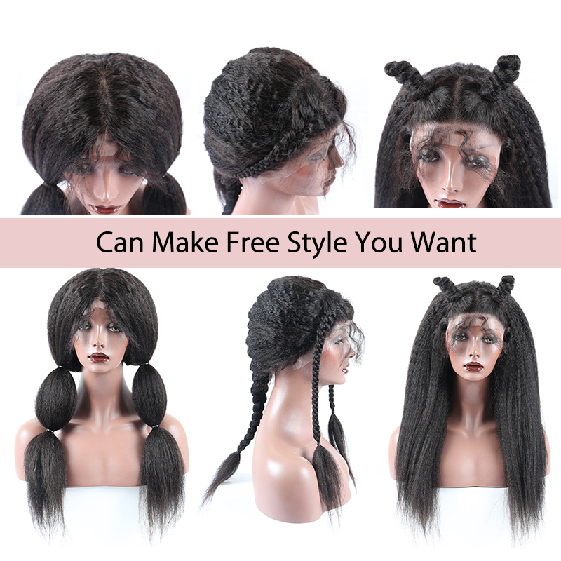 Kinky Straight 360 Lace Frontal Wig Pre Plucked With Baby Hair 13x6 Lace Front Wig Italian Yaki Human Hair Wigs Dolago 370 Wig-in Human Hair Lace Wigs from Hair Extensions & Wigs    3