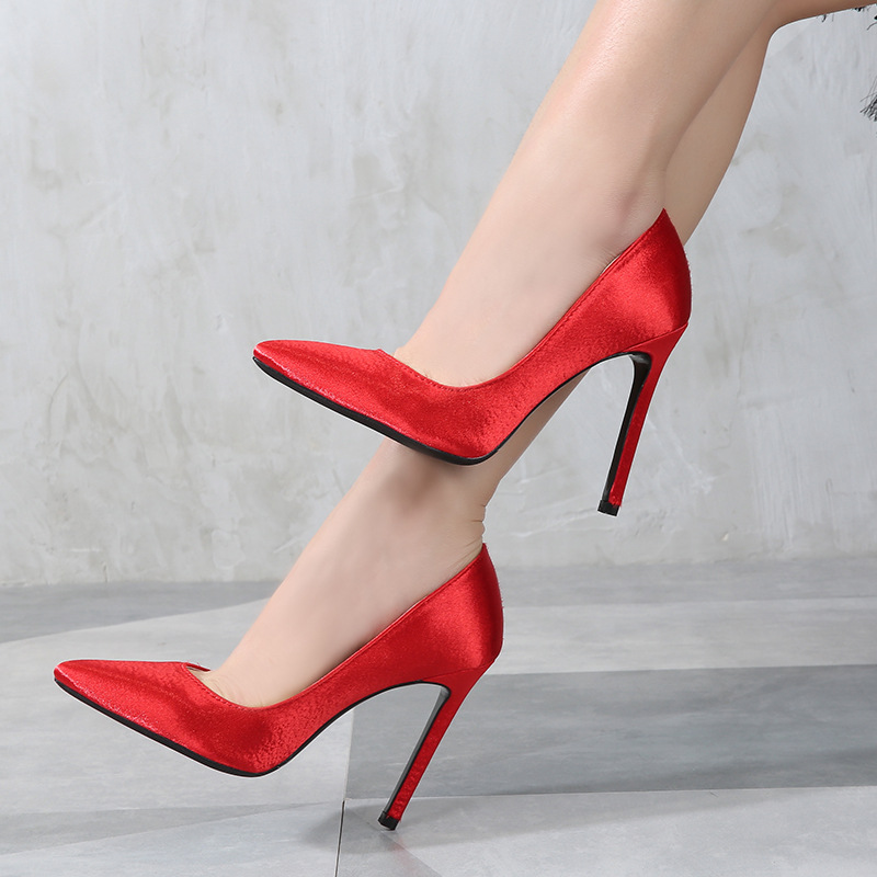 Odinokov Pointed Toe Women Pumps 2019 High Quality Fashion Sexy Silk High Heels Woman Wedding Shoes White Black Large Size 14