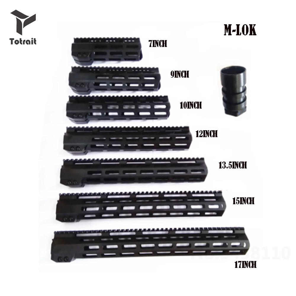 7 9 10 12 13.5 15 17AR15 Free Float M-LOK Handguard Picatinny Rail Slim Style Steel Scope Mount Riflescop Barrel Nut image