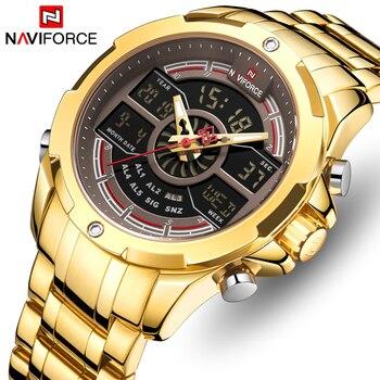 Reloj de pulsera Digital a prueba de agua para hombre de marca superior de NAVIFORCE, reloj de cuarzo dorado de lujo para hombre
