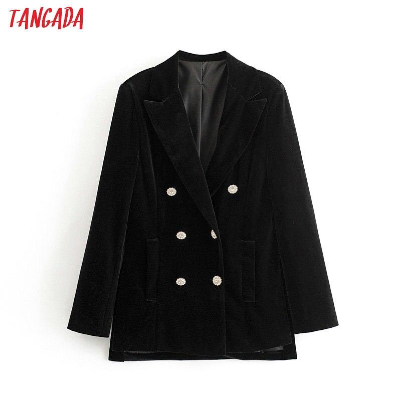 Tangada Women Black Velvet Blazer Diamond Buttons Female Long Sleeve Elegant Jacket Ladies Work Wear Blazer Formal Suits 3H367
