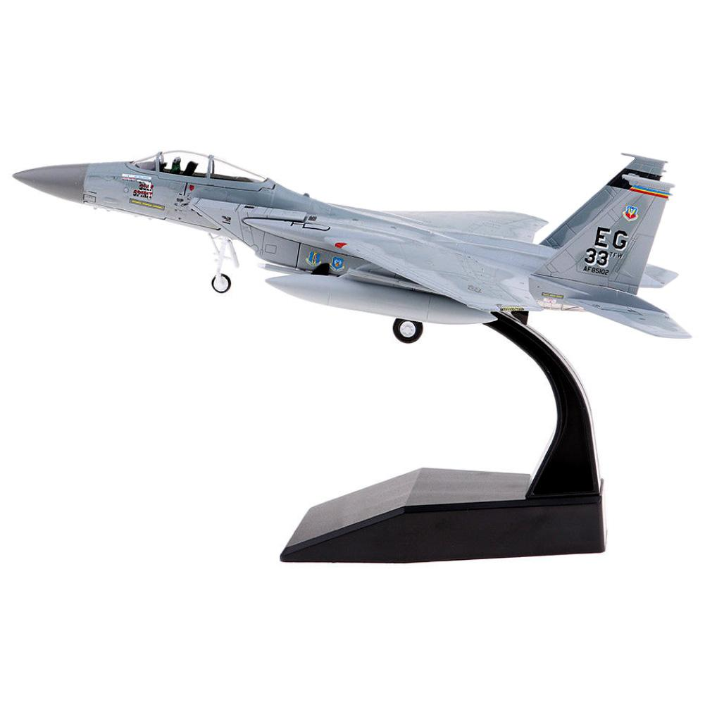 Diecast Airplane <font><b>Model</b></font> Toy 1/100 Scale Alloy Simulation US F15 Airplane <font><b>Aircraft</b></font> Plane <font><b>Model</b></font> Kids Toy Gift For Collection image
