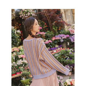 Image 2 - Inman primavera outono o pescoço manga gota ombro bonito colorido jovem menina jacquard xadrez feminino pulôver