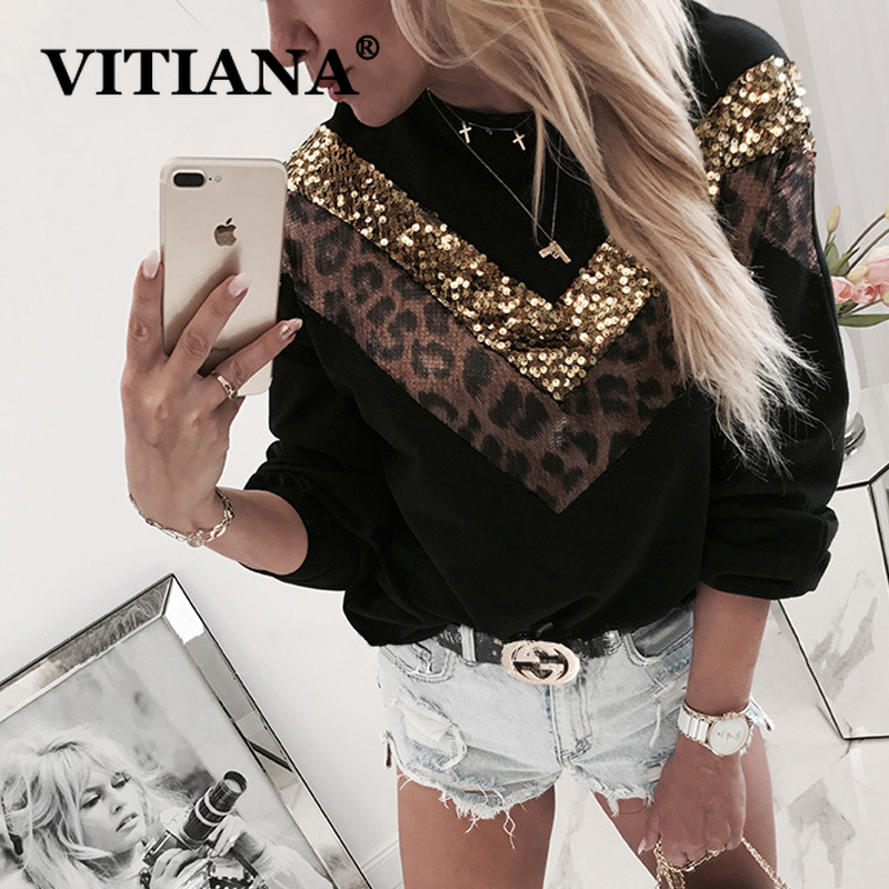 VITIANA Casual Hoodies Sweatshirt Autumn 2019 Female Long Sleeve Leopard Black Sequined Hooded Sweatshirts Femme Hoodie Tops