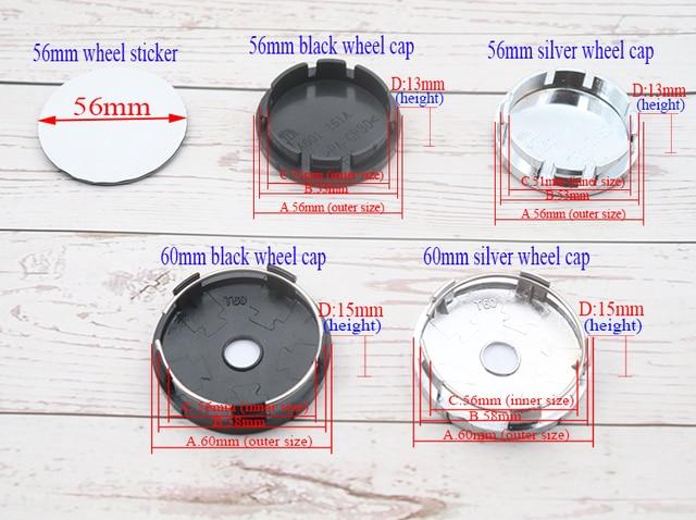 4 pçs 56mm ou 60mm logotipo do carro roda centro tampa aro crachá à prova de poeira capas decalque reequipamento decoração emblema criativo adesivo