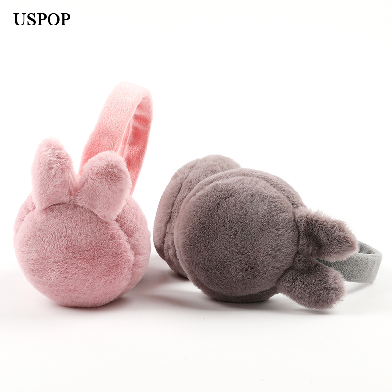 USPOP 2019 New Earmuffs Women Cute Rabbit Ear Earmuffs Solid Color Collapsible Earmuff  Female Winter Warm Ear Protector