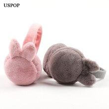 USPOP 2019 new earmuffs women cute rabbit ear solid color collapsible earmuff  female winter warm protector