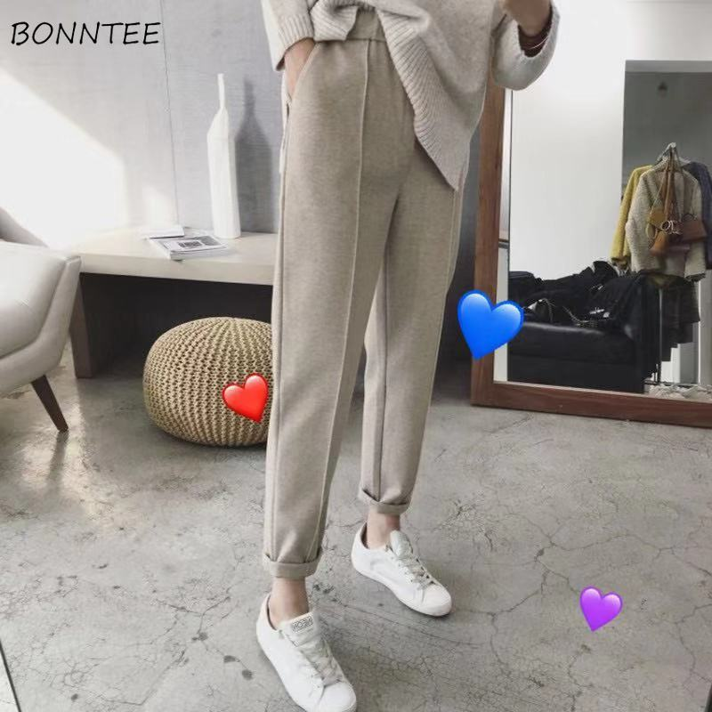 Pants Women Long Trousers Harem Flat Winter Warm Thicker Womens Ankle-Length Pocket Leisure Loose Female Elegant All-match Chic