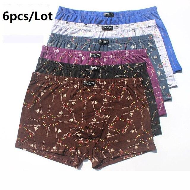 6pcs/Lot 100% Cotton Loose Boxers Four Shorts Underpants Men'S Boxers Shorts Breathable Underwear printing Comfortable cotton