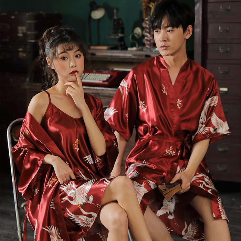 Couple Holiday Bath Outfit Spring Summer Breathable Men's Women's Pajamas Set Nightgown Ice Silk Fairy Crane