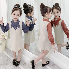 Kids Knitted Dress For Girls Fashion Long Sleeve Turn Down Collar False Two Piece Shirt Dress New Arrival Princess Autumn Outfit