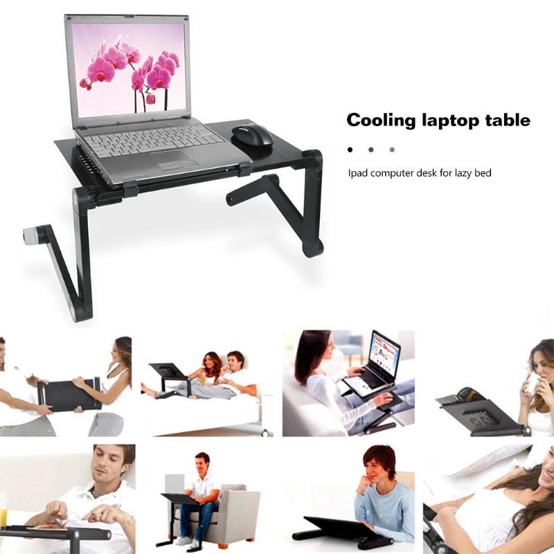Cooling Laptop Computer Table Bed Aluminum Alloy Foldable Computer Desk iPad Desk Lazy Aluminum Folding Table Dropship
