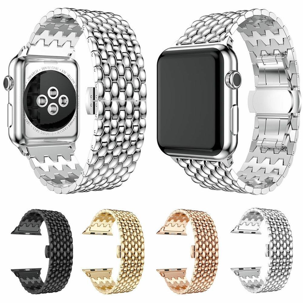 Band Bangle Butterfly Lock Link Bracelet Stainless Steel Band Strap For Apple Watch 40/44mm 38/42mm Series 4 3 2 1