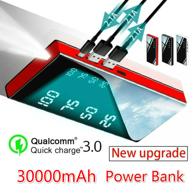 Power Bank 30000mAh Portable Charger Power Bank with 2.1A External Battery Pack for All smartphones  IPad &  Galaxy & More