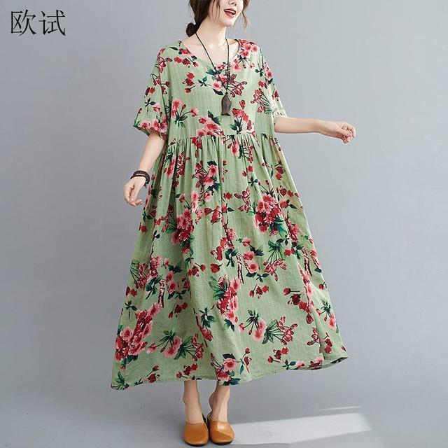 Plus Size Floral Summer Beach Dress Korean Cotton Ladies Dresses for Women 4XL 5XL 6XL Vintage Print Oversized Long Dress 2020 1