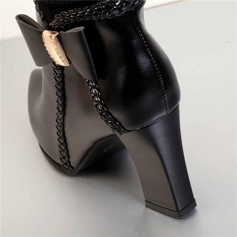 Winter Frauen Bowtie Mid-kalb Stiefel Spitz Hohe Chunky Heels Schwarz Weiß Casual Büro Dame Stretch Stricken Socke halb Stiefel