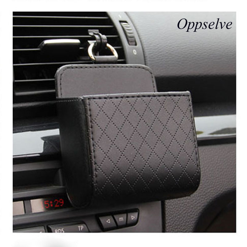Oppselve Universal Car Outlet Storage Bag for Phones PU Leather Tidy Case Organizer Car Mount Multi-function Organizer Holder