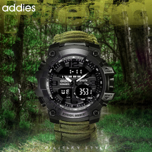 Addies Military Watch Men with Compass Whistle Scraper Waterproof