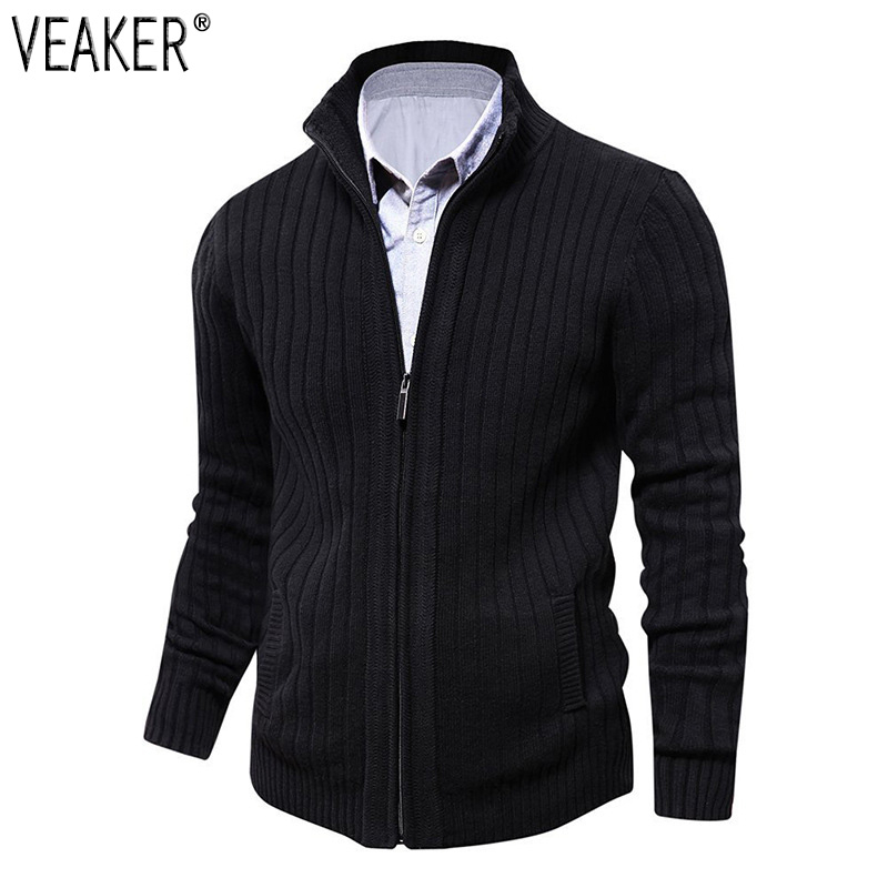 2019 Autumn New Men's Slim Fit Solid Color Sweatercoat Male Casual Zipper Sweater Coat Jacket Winter Fleece Wool Blended Sweater