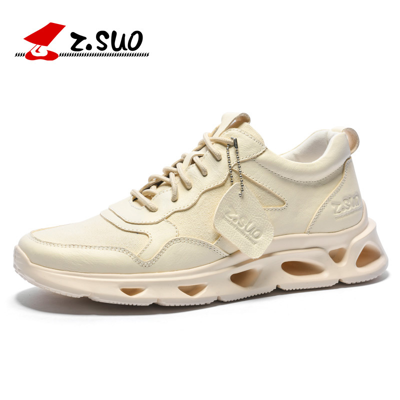 Z.SUO Brand Men's Shoes Fashion Lace Up Microfiber + Breathable Canvas Height Increasing Foamed Rubber Sole Men's Casual Shoes