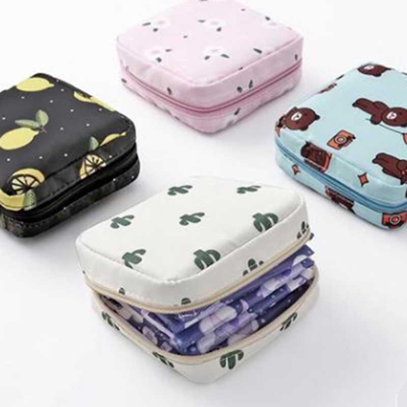 Girls Diaper Sanitary Napkin Storage Bag Nylon Sanitary Pads Package Bags Coin Purse Jewelry Organizer Credit Card Pouch Case