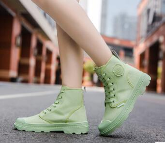 2019 autumn and winter candy color girls high canvas shoes breathable new Martin boots casual women's shoes 72