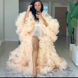 Frauen Illusion Rüschen Tüll Lange Hülse Frauen Winter Sexy Kimono Schwangere Party Nachtwäsche Frauen Bademantel Sheer Nachthemd Robe