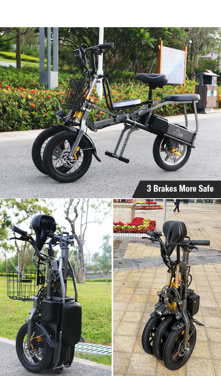 JX003 High speed electric bike 350w 48V 3 wheel foldable electric bicycle e scooter 11