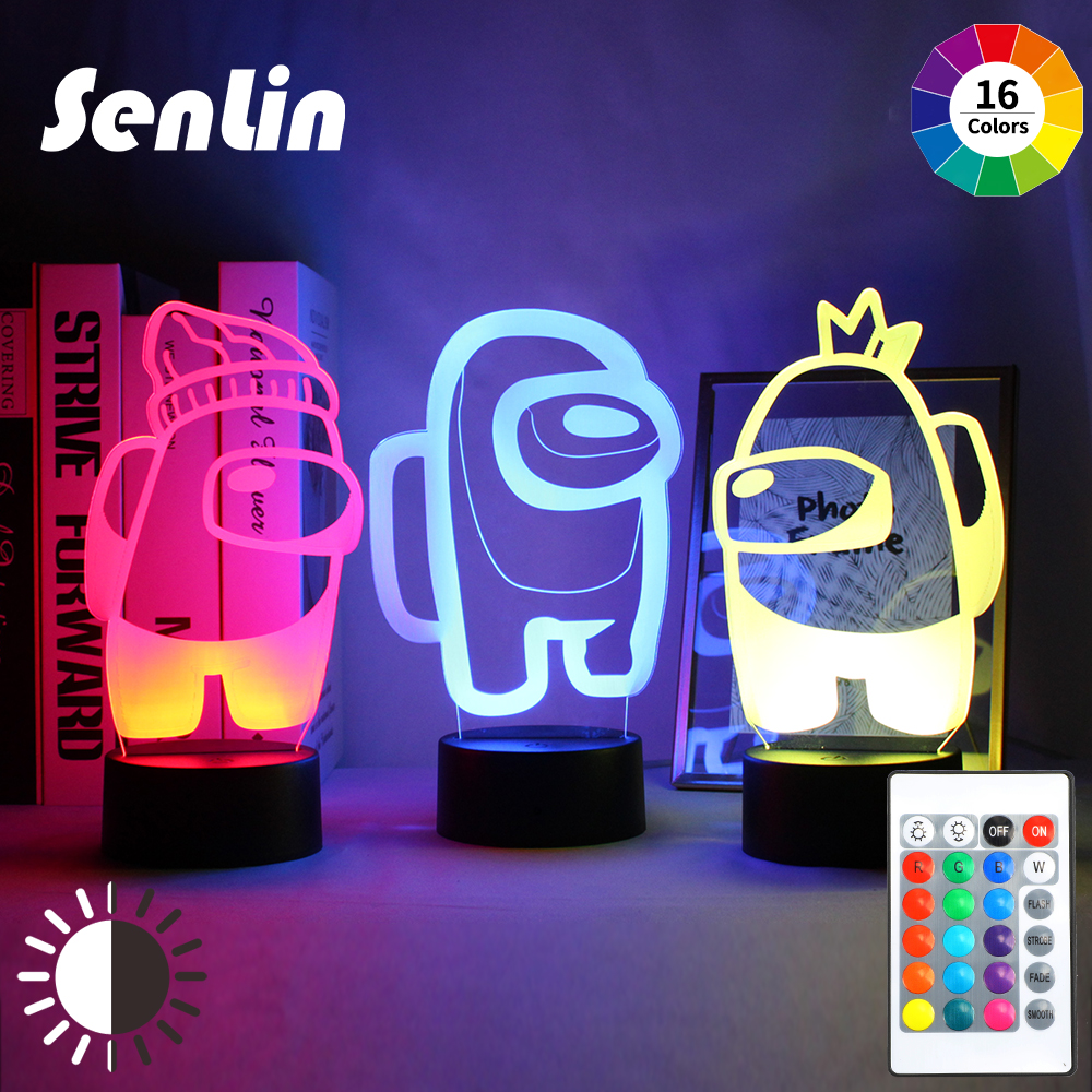 Night Light 3D Illusion Lamp Hot Game Among Us Light for Bedroom Decor LED Sensor Light Atmosphere Bedside Night Lamps Kids Gift