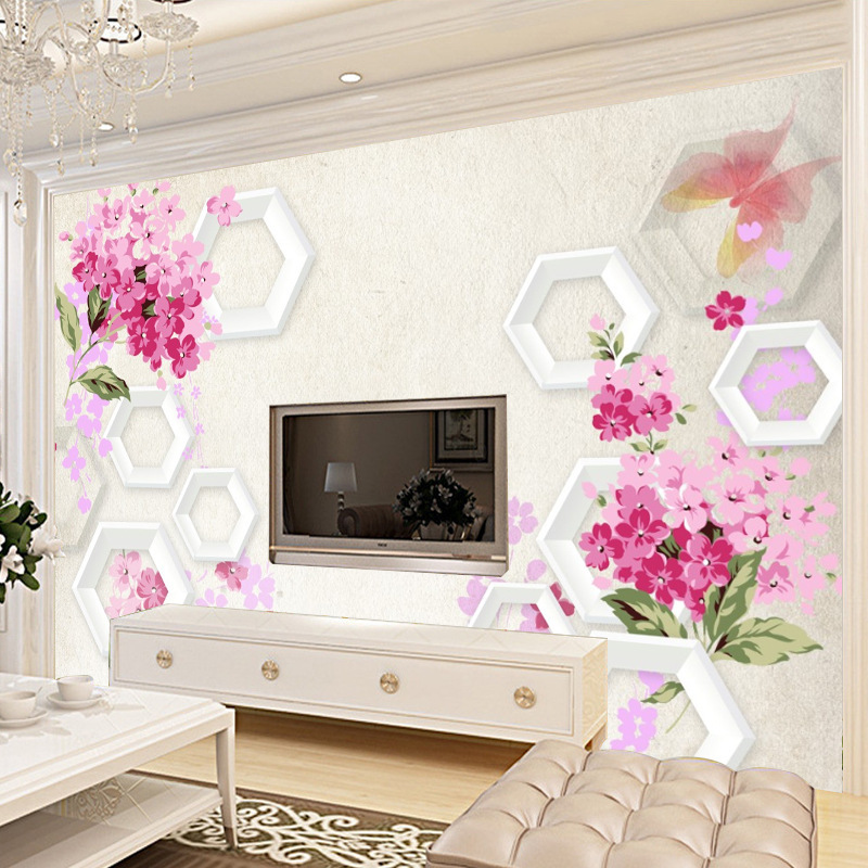 3D TV Backdrop Living Room Television Wall 3D Nonwoven Fabric Sofa Wallpaper Seamless Wallpaper Mural Customized Background Wall