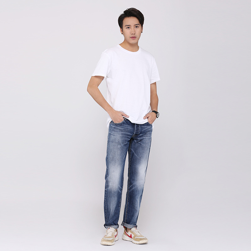 2019 New Style Cowboy Faded Made Old Jeans Korean-style Made Old Long Straight-Cut Men's Trousers Loose-Fit Versatile Pants Tren