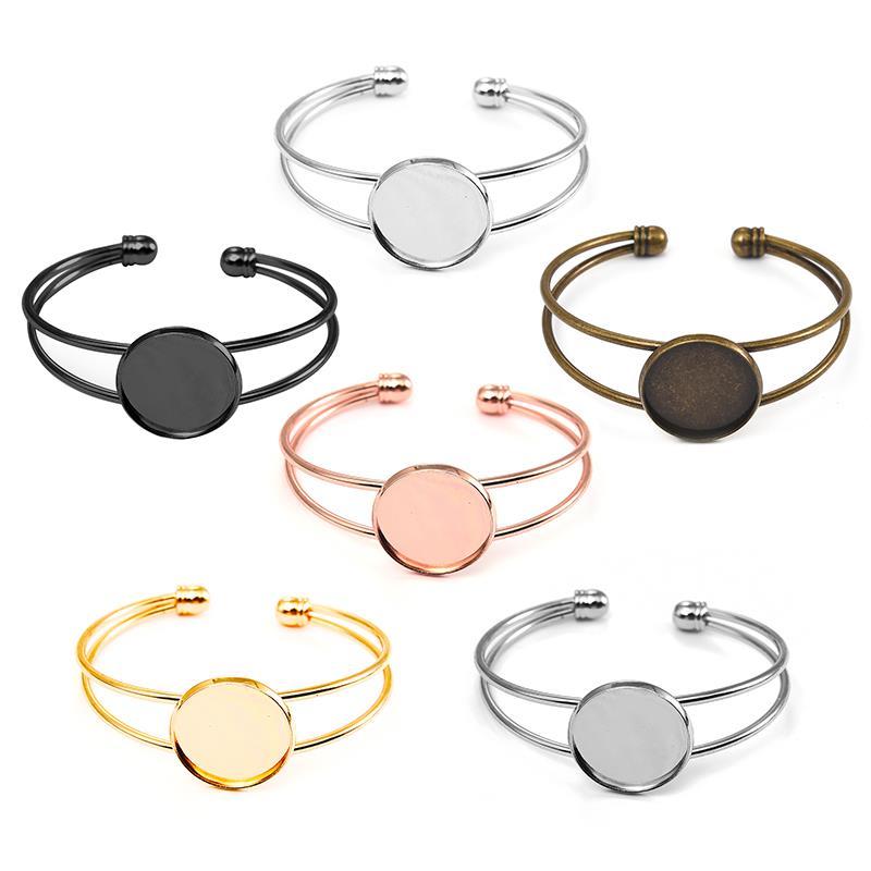 5pcs Adjustable Bangle Base Bracelet Blanks Tray Bezel Brass Cuff Bracelet Setting 20mm Cabochon Cameo DIY Jewelry Findings