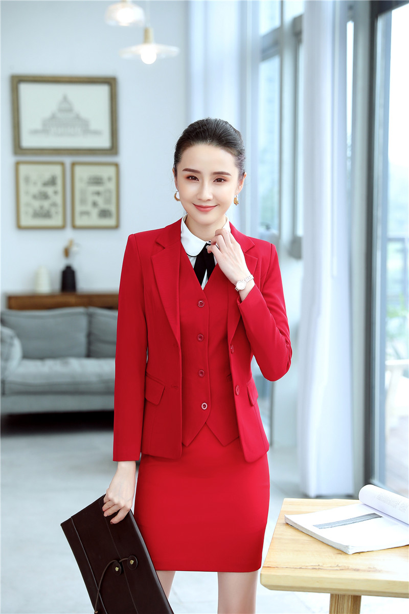 Formal Professional Ladies Office Work Wear Suits With 3 Piece  Jackets Coat And Skirt And Vest Coat & Waistcot Ladies Blazers