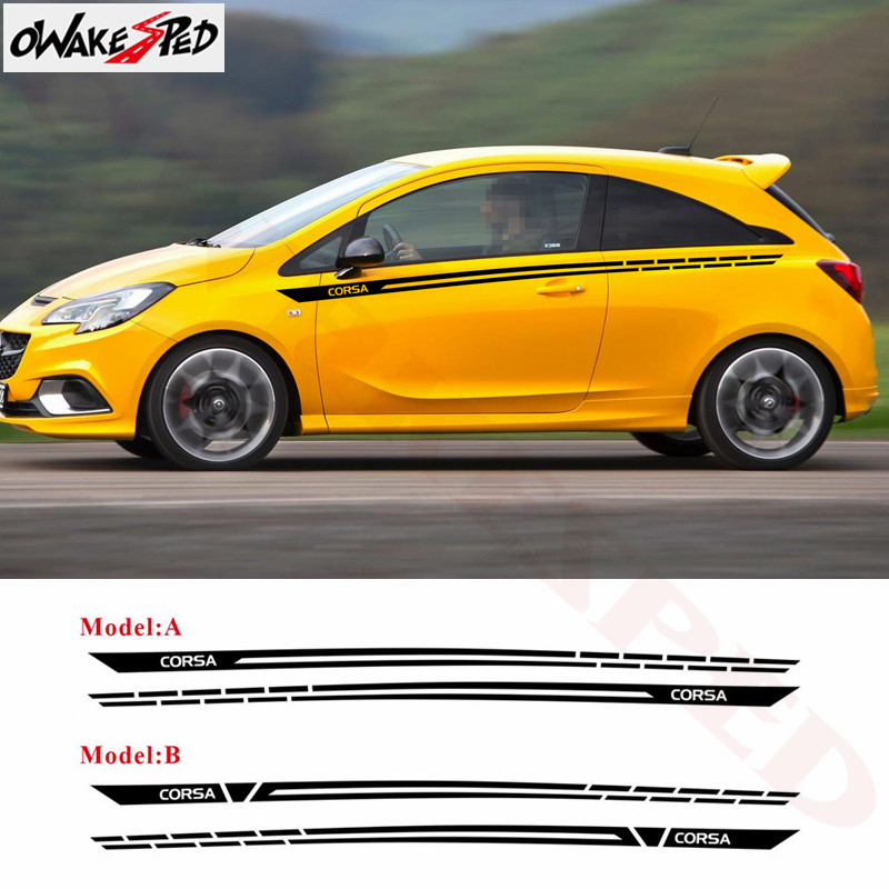 Auto porte taille ligne décor autocollant pour Opel Corsa c e d 3-5 portes carrosserie Sport rayures style autocollants vinyle décalcomanies