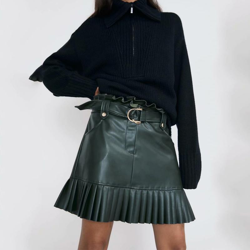 2020 Black Sexy Mini Skirts Women Elegant Ruffle High Waist Skirt Women Vintage Sashes Faux Leather Skirts Pleated Skirt Korean