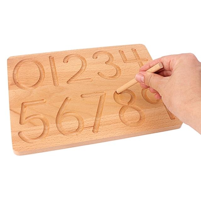 Placa de brinquedo montessori, brinquedo para matemática de reconhecimento digital, 0 9, prática para crianças, prática de treinamento pré escolar, madeira