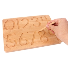 Planche à chiffres mathématiques Montessori, jouets, pratiques décriture, Cognition numérique, pour enfants, formation préscolaire, bois de hêtre 0 9