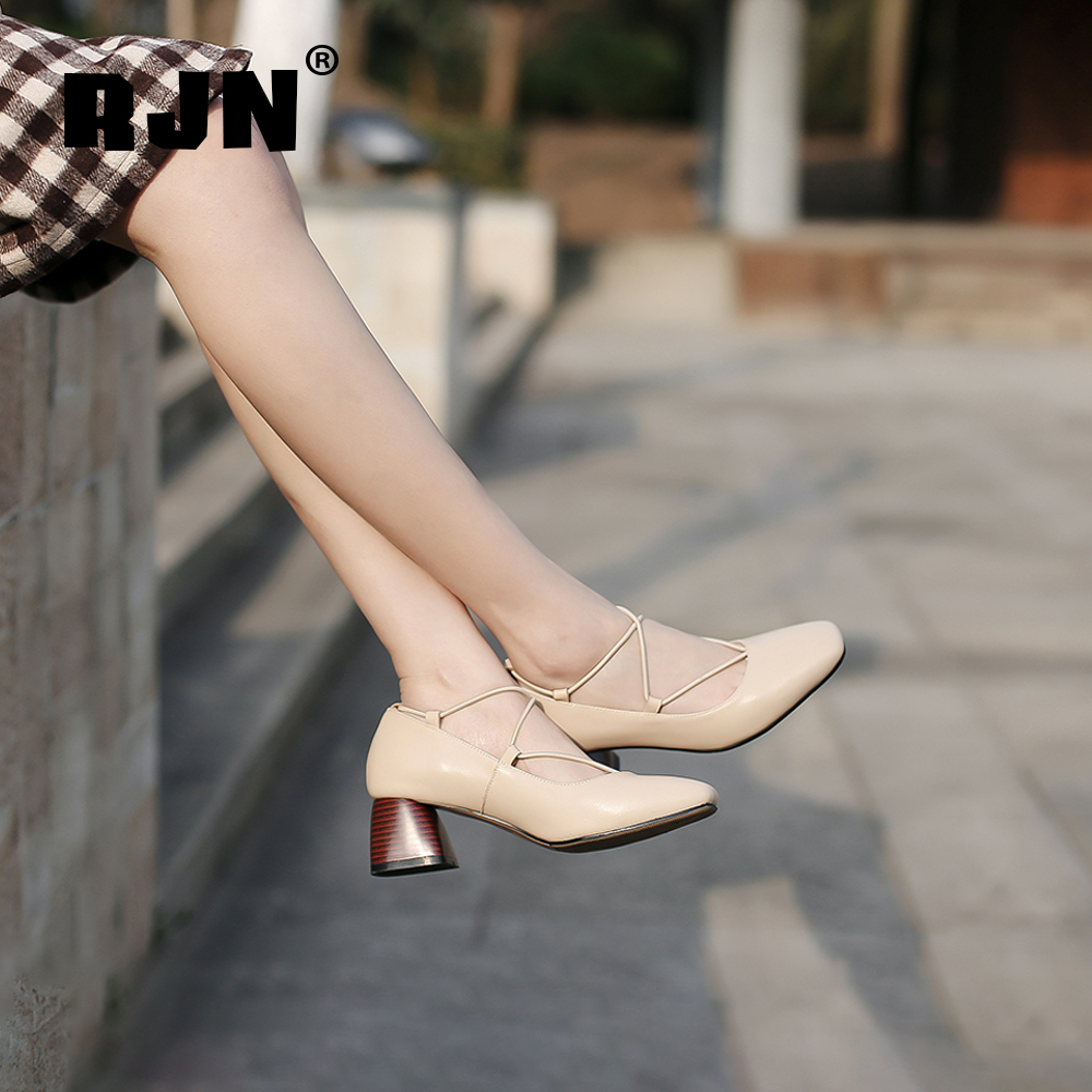 New RJN Fashion Women Pumps Comfortable Square Toe Elegant Wood Grain High Heel Shoes Genuine Leather Slip-On Shallow Pumps RO16