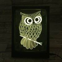 LED Colorful Remote Control Frame 3D Lamp Owl 3D Visual Lamp Gift Atmosphere Small Night Lamp