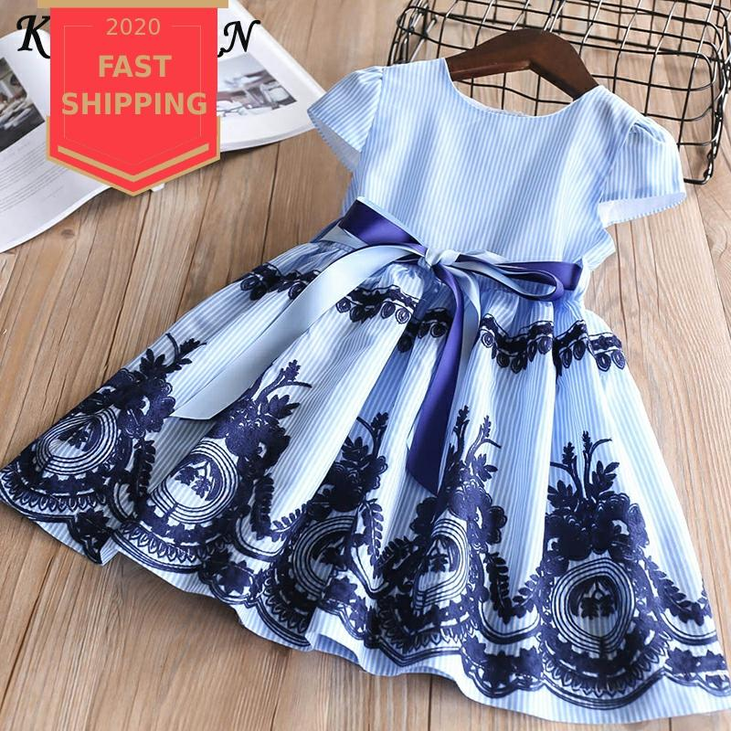 Keelorn Girls Dress 2020 Summer Brand Bow Sequin Dress Girls Princess Layered Cake Dresses Baby Girls Clothes For 2-6Y Vestido