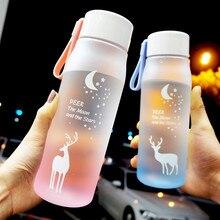 560ml Cute Deer Pattern Water Bottle for Girl Biking Travel