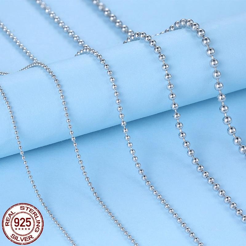 Collier chaîne en argent sterling 925 femmes, chaîne de perles en argent 925 de 1mm - 2mm de 40cm-50cm de long, bijoux en argent 925