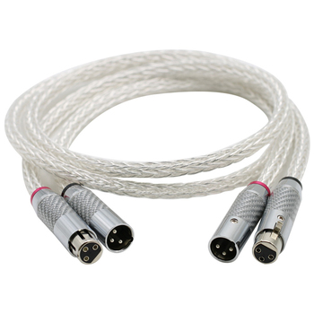 Hi-End 8AG Silver Plated OCC 16 Strands Audio Cable With Carbon Fiber 3pins XLR Balanced cable,xlr connector,audio