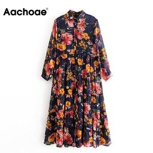 Женское шифоновое платье с цветочным принтом Aachoae, свободное платье-рубашка с отложным воротником, плиссированное пляжное платье с длинным ...