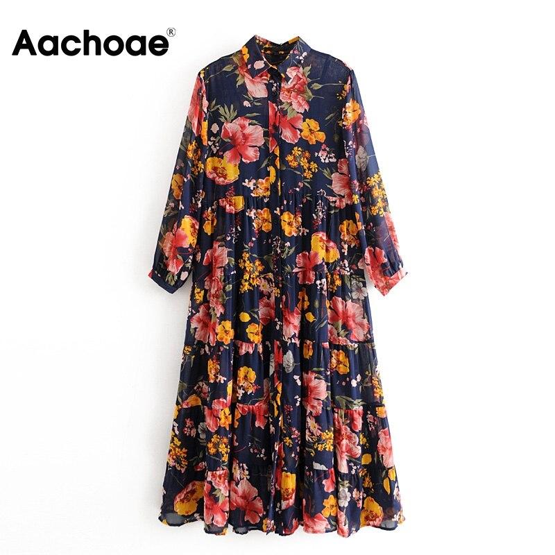 Aachoae Floral Print Boho Chiffon Dress Women Turn Down Collar Loose Shirt Dress Long Sleeve Pleated Beach Dresses Lady Vestido