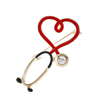 1PCS Hot Sale Medical Medicine Brooch Pin Stethoscope Electrocardiogram Heart Shaped Pin Nurse Doctor Backpack Lapel Jewelry