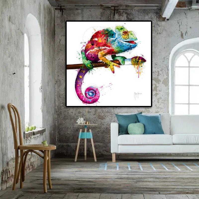 動物写真ライオンゼブラ猫トカゲ抽象的なカラフルな絵画キャンバスアート壁写真 Cuadros 装飾フレームを印刷しない