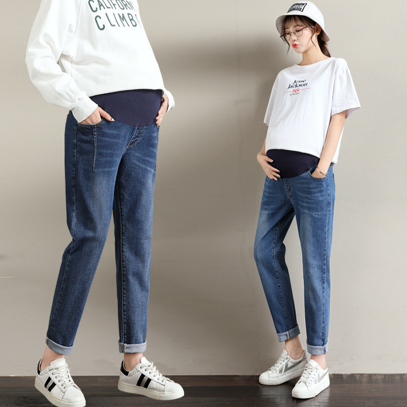 L-6XL Pregnant Women Pants Autumn Jeans Loose Wide Leg Plus Fat Maternity Pants Pregnant Stomach Lift Pregnancy Pants Premaman