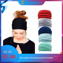 1 PC Solid Color Fold Yoga Headband Nonslip Elastic Stretch Hairband Turban Running Headwrap Wide Sports Accessories